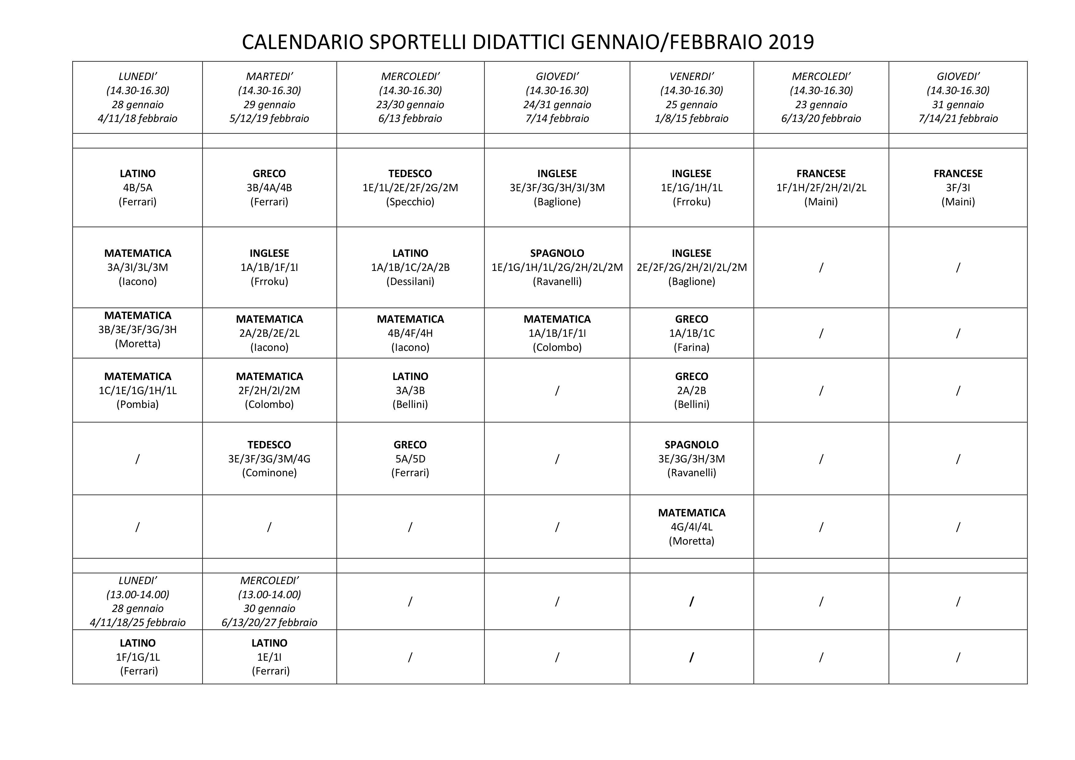 Calendario Greco.Calendario Sportelli Didattici Gennaio Febbraio 2019 Liceo